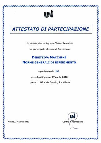 Editech-solutions Uni attestato Corso Direttiva Macchine - norme generali