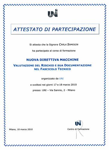 Editech-solutions Uni attestato Corso Direttiva Macchine - valutazione rischio